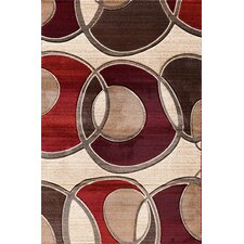 Pinnacle Beige/Red Around the Block Area Rug