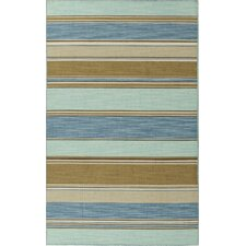 C. L. Dhurries Blue/Tan Stripe Rug