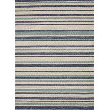 Coastal Blue/Ivory Stripe Indoor/Outdoor Rug