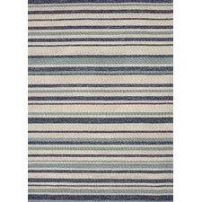 Coastal Blue / Ivory Stripe Indoor / Outdoor Area Rug