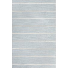 C. L. Dhurries Blue/Ivory Stripe Area Rug