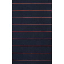 C. L. Dhurries Blue/Red Stripe Rug