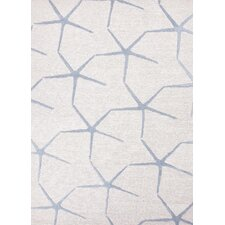C. L. Hand-Tufted Ivory/Blue Coastal Rug
