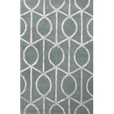 City Blue & Gray Geometric Area Rug