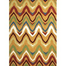 Coastal Orange/Red Geometric Indoor/Outdoor Rug