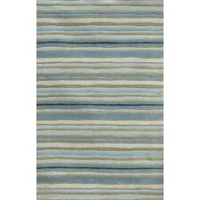 C. L. Hand-Tufted Blue/Green Stripe Area Rug