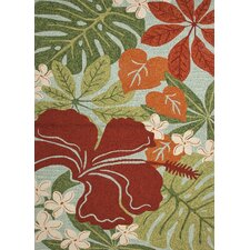 Coastal Green/Red Floral Indoor/Outdoor Rug