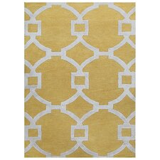 City Yellow / Ivory Geometric Area Rug