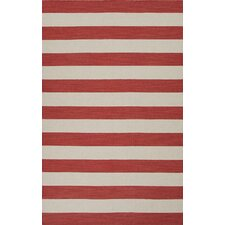 Pura Vida Red/Ivory Stripe Rug