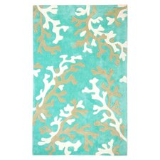 Fusion Coral Fixation Turquoise Blue/White Rug