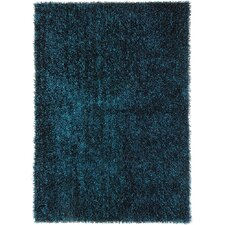 Flux Teal Blue Shag Area Rug