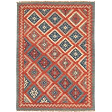 Anatolia Burnt Brick/Medium Blue Tribal Rug