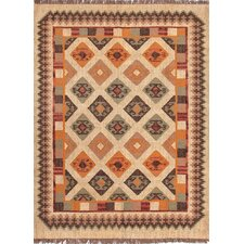 Bedouin  Dark Ivory Tribal Rug