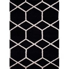 City Black Geometric Rug