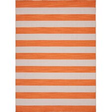 Pura Vida Orange Stripe Area Rug