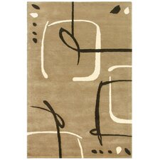Blue Scribble Down Dark Sand Area Rug