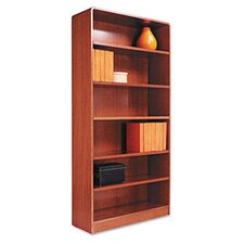 Radius Corner Bookcase, Finished Back, Wood Veneer, 6-Shelf, 36x12x72, Med. Oak
