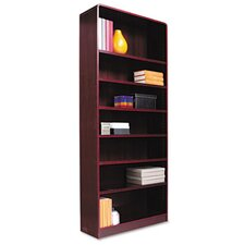 Radius Corner Bookcase, Finished Back, Wood Veneer, 7-Shelf, 36x12x84, Mahogany