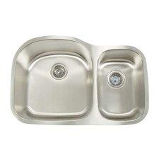 """Premium Series 31.125"""" x 20.5"""" Double Bowl Undermount Kitchen Sink"""