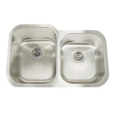 "Premium Series 31"" x 20"" x 9""/7"" Double Bowl Undermount Kitchen Sink"