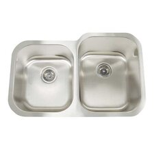 "Premium Series 31"" x 20"" x 7""/9"" Double Bowl Undermount Kitchen Sink"