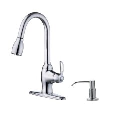 Prime Kitchen One Handle Centerset Kitchen Faucet with Soap Dispenser