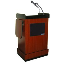 <strong>AmpliVox Sound Systems</strong> Multimedia Smart Computer Lectern in Mahogany