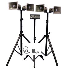 <strong>AmpliVox Sound Systems</strong> Deluxe Wireless Quad Half-Mile Hailer Kit with Heavy Duty Tripods