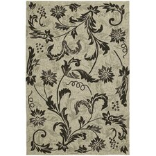 Home and Porch Beige Floral Indoor/Outdoor Rug