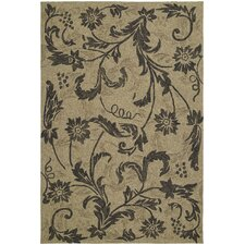 Home and Porch Mocha Floral Rug