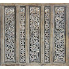 """44"""" x 44"""" Balinese Carved 5 Panel Room Divider"""