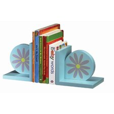 Bookends with Pink Daisy Design in Multicolor