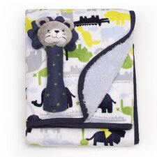 Basics Safari Velour Sherpa Blanket and Rattle