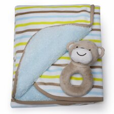 Basics Monkey Velour Sherpa Blanket and Rattle