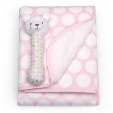 Basics Velour Sherpa Blanket and Rattle