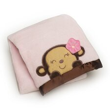 Basics Monkey Embroidered Boa Blanket
