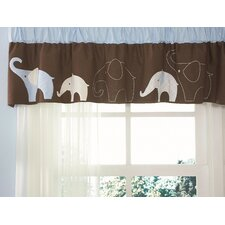 Blue Elephant Window Curtain Valance