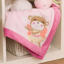 Fairy Monkey Embroidered Boa Blanket