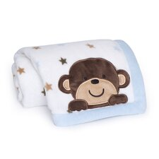 Monkey Rockstar Embroidered Boa Blanket