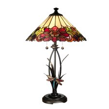 """Floral with Dragonfly Tiffany 25"""" H Table Lamp with Empire Shade"""