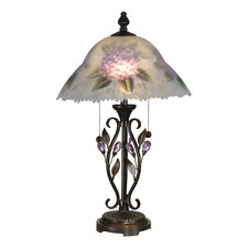"Hand Painted Purple Flower 23.5"" H Table Lamp with Empire Shade"