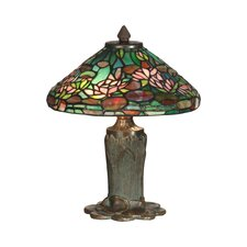 """Floral Leaf Tiffany 12"""" H Table Lamp with Empire Shade"""