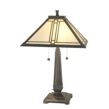 """Lined Mission 24.5"""" H Table Lamp with Square Shade"""