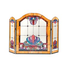 <strong>Dale Tiffany</strong> Anemone 3 Panel Glass Fireplace Screen