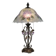 Hand Painted Purple Flower 2 Light Table Lamp