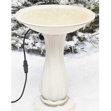 "20"" Beige Heated Birdbath on Pedestal"
