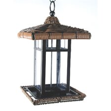 Wicker Square Lantern Decorative Bird Feeder
