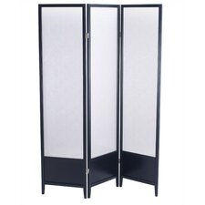 Toronto Folding Screen in Black Wood with Plexiglass Panels