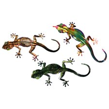 3 Piece Refraxions Gecko 3D Wall Décor Set