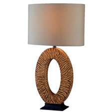 """Burl 26"""" H Table Lamp with Drum Shade"""